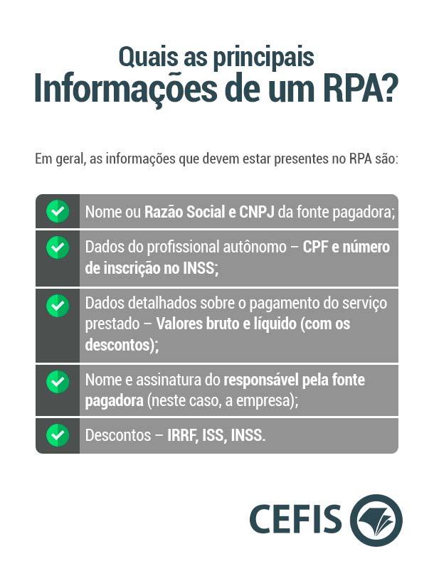 Quais as principais informações de um RPA?