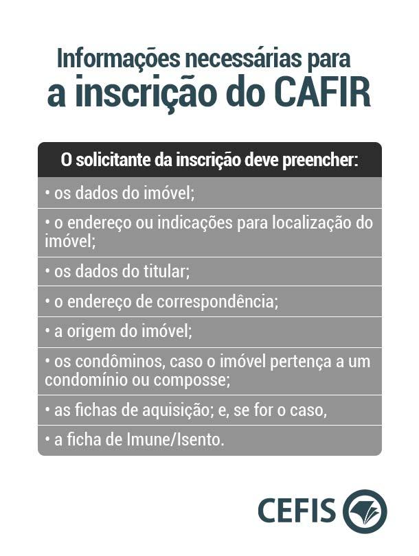 Informações necessárias para a inscrição do CAFIR