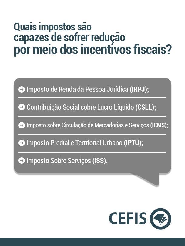Quais impostos são capazes de sofrer redução por meio dos incentivos fiscais?